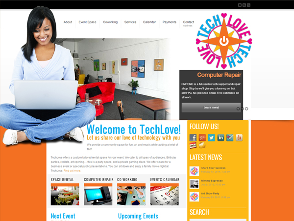 TechLove – Cyber Cafe- Event Space- Website Design