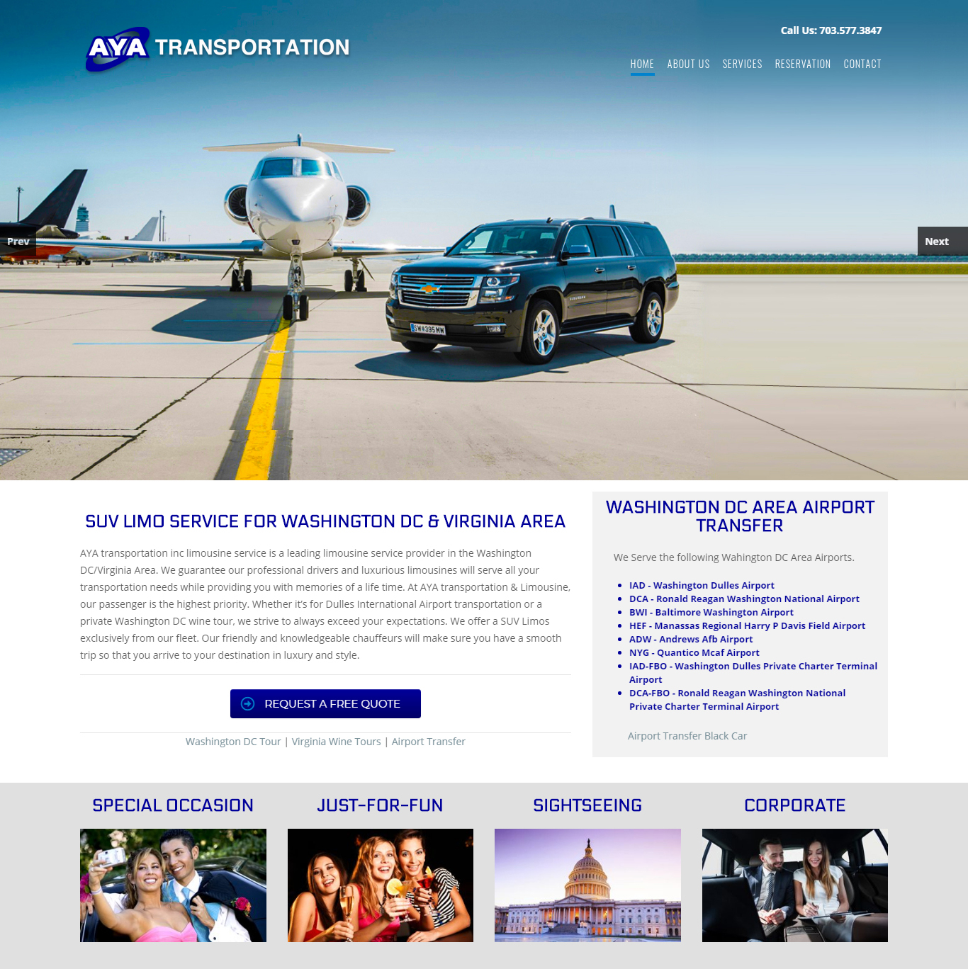 Aya Transportation - Black Car - SUV Transportation Service Website